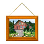 Painted house in frame — Stock Photo