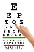 Wijzend handje en gezichtsvermogen test-chart — Stockfoto