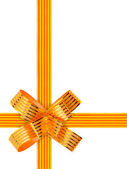 Gold bow and ribbon — 图库照片