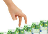 Hand and money staircase — Stock Photo