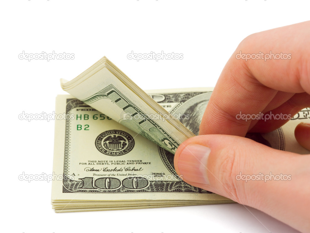 Hand counting money isolated on white background  Stock Photo #4172326