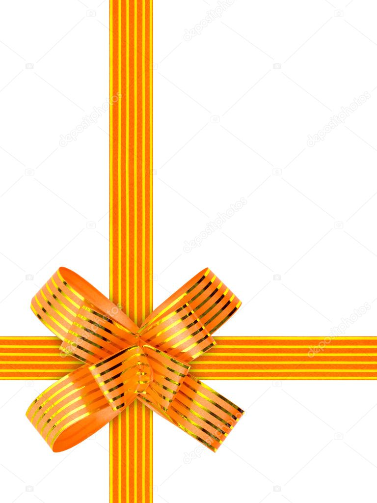 Gold bow and ribbon isolated on white background  Stock Photo #4174341