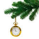 Christmas tree and clock — Stock Photo