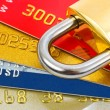 Stock Photo: Credit cards and lock