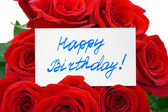 Roses and card Happy birthday — Zdjęcie stockowe