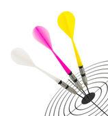 Darts and target — Stock Photo