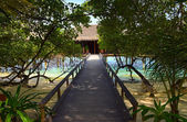 Pathway to water bungalow — Stock Photo