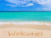 Parola di benvenuto sulla spiaggia — Foto Stock
