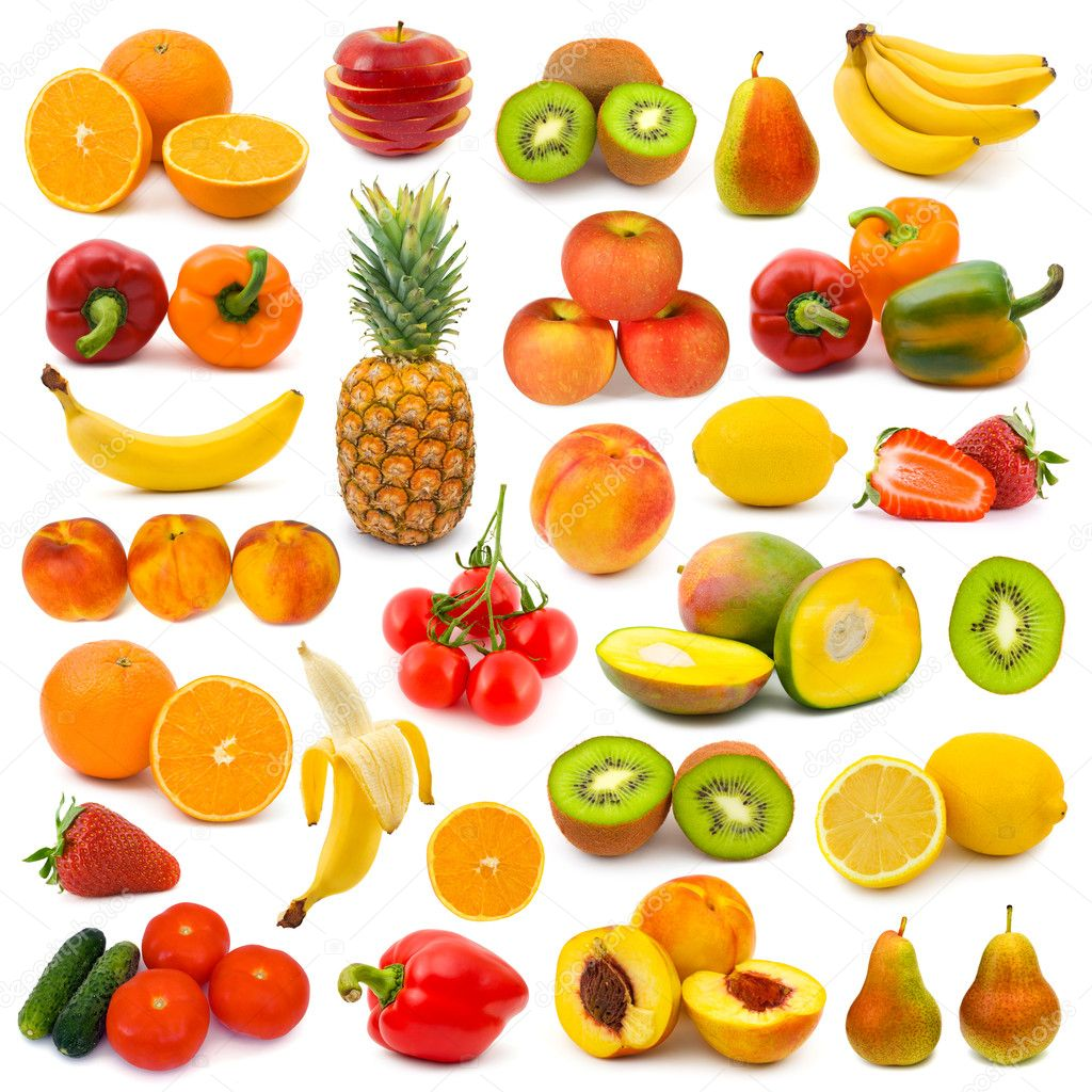Set of fruits and vegetables isolated on white background    #4211667