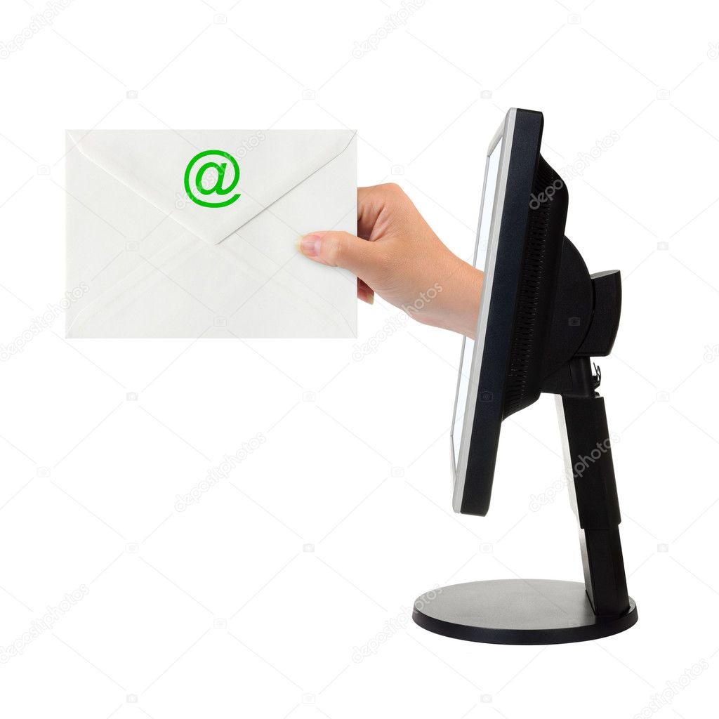 Computer screen and hand with letter isolated on white background  Stock Photo #4211709