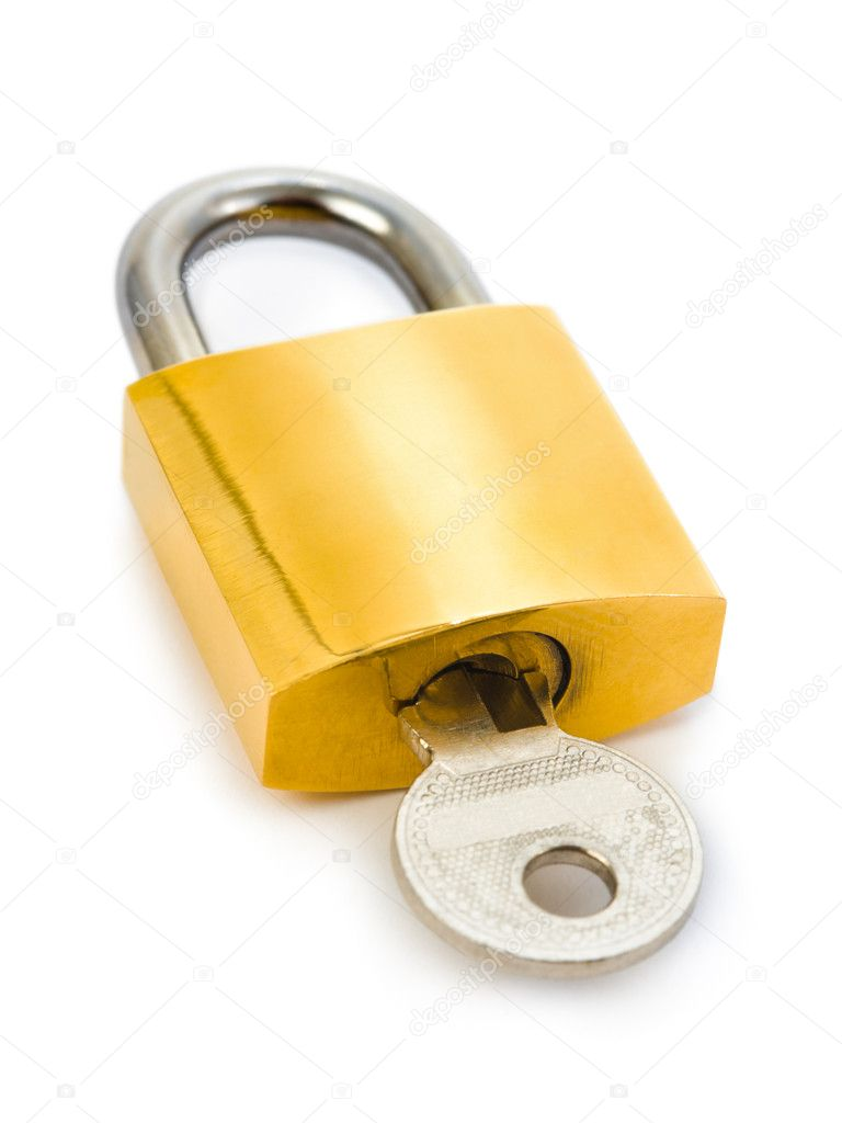Lock and key isolated on white background — Stock Photo #4217914