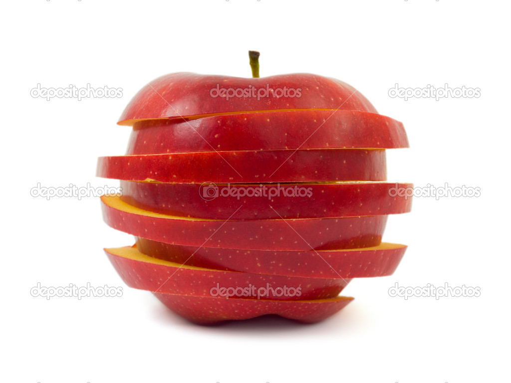 Sliced apple isolated on white background — Stock Photo #4219387