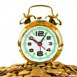 Stock Photo: Alarm clock and coins