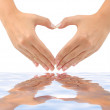 Heart made of hands and water — Stock Photo #4234905