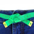 Jeans and measuring tape — Foto de Stock