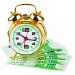 Alarm clock and money — Stockfoto