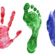 Printout of hand, foot and finger — Stock Photo