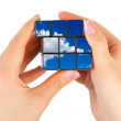 Hands with sky puzzle — Stock Photo