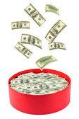 Box and falling money — Stock Photo