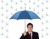 Man with umbrella and rain — Stock Photo
