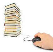 Hand with computer mouse and books — Stock Photo