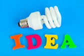 Lamp and word Idea — Stock Photo