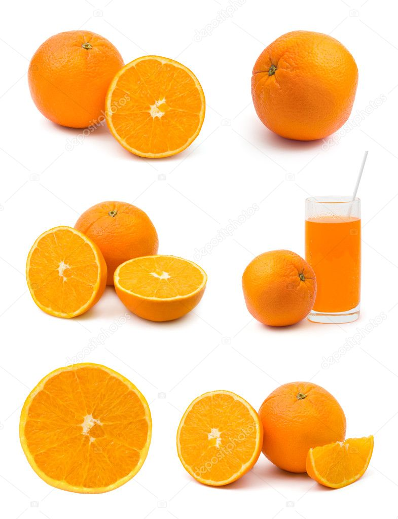 Set of orange fruits isolated on white background — Stock Photo #4239030