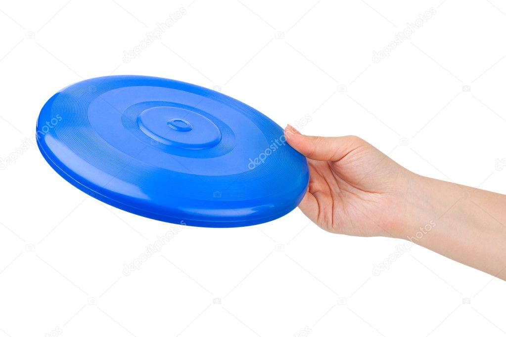 Hand and flying disc isolated on white background — Stock Photo #4239484