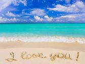 Words I Love You on beach — Stock Photo