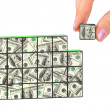 Stock Photo: Hand and business puzzle