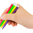 Hand with multicolored pens — Stock Photo