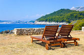 Longue on beach in Dubrovnik, Croatia — Stock Photo