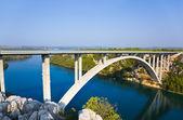River Krka and bridge in Croatia — Stock Photo