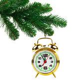 рождественская елка и будильник — Стоковое фото