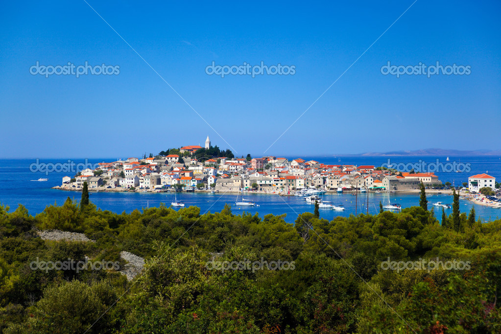 Town Primosten in Croatia - abstact travel background  Stock Photo #4250494