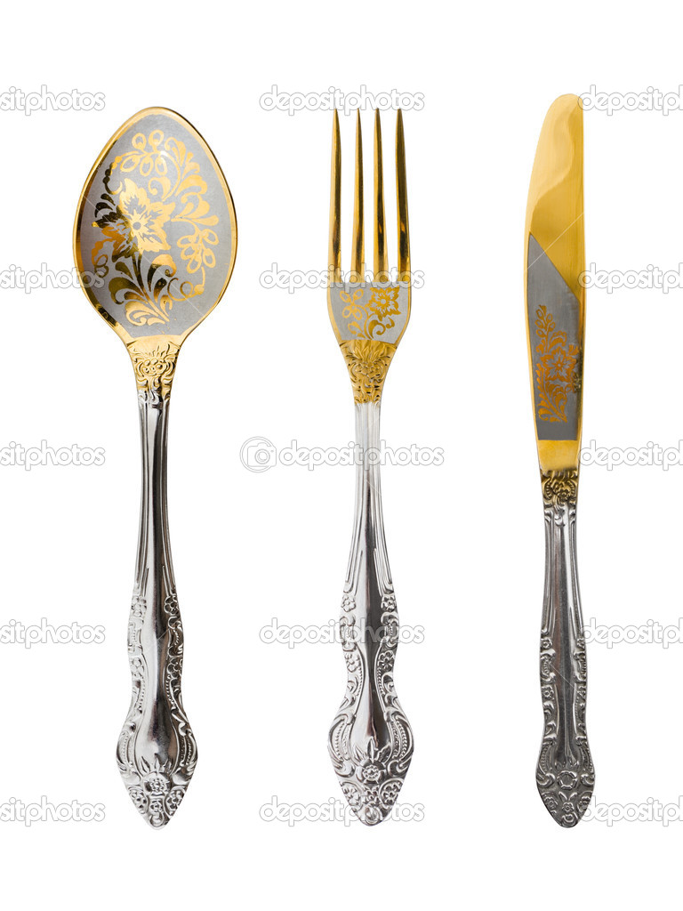 Spoon, fork and knife isolated on white background — Stock Photo #4256077
