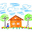 Child's drawing house — Stock Photo