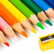 Multicolored pencils and sharpener — Stock Photo #4267374