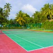 Tennis court on a tropical island — Stock Photo