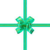 Green bow and ribbon — Foto Stock