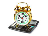 Calculator and clock — Stock Photo