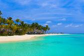 Beach bungalows on a tropical island — Stock Photo