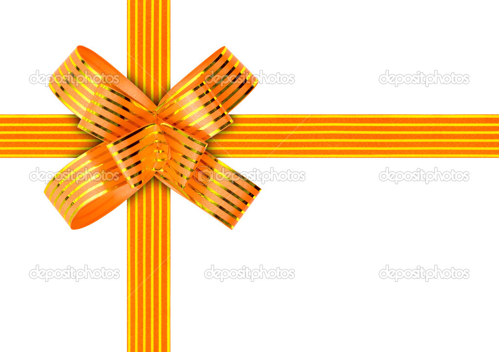 Gold bow and ribbon isolated on white background — Stock Photo #4262490