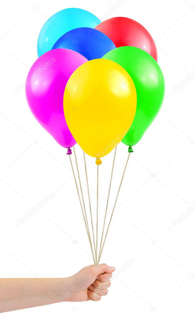 Multicolored balloons in hand isolated on white background — Stock Photo #4263228