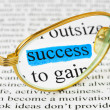 Glasses on business text and word success - Foto Stock