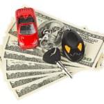 Toy car, keys and money — Stock Photo #4273089