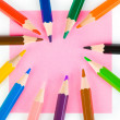Multicolored pencils and paper — Stock Photo