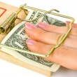Hand and mousetrap with money - Stock Photo