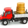 Royalty-Free Stock Photo: Toy truck with money