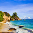 Tropical beach Source D'Argent at island La Digue, Seychelles — Stock Photo